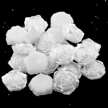 Kaunistus element-  roosid 15mm, valge